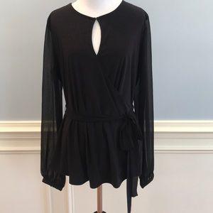 NWT White House Black Market wrap front blouse